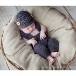 Baby Boy Overalls & Newsboy Set / Newborn Photography Prop / Grey