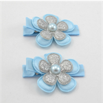 Princess Flower Hair Clips - light blue