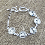 Music Note Bracelet. Silver Treble Clef Bass Upcycled Modern