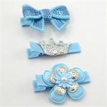 Princess Hair Clip Trio - light blue
