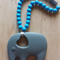 Silicone Elephant Teether in Grey/Blue