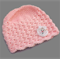 baby girl | crochet beanie | pink with white bunny | gift | newborn - 3 months