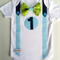 1st Birthday Outfit Baby Boy Onesie Blues and Greens Bow Tie Onesie all sizes