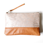 Metallic silk and leather clutch, zipper pouch