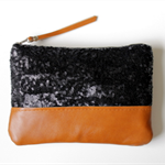 Black sequin and leather clutch