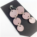 Palest Pink leather Dew Drop earrings - recycled leather