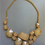 Modern Deco Abstract Nude Crystal Statement Bib Necklace with Gold Curb Chain