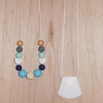 DribbleGems 100% Non Toxic Mum Teething Necklace & Pendant Gift Set