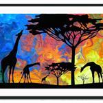Animals African Landscape Giraffe Nursery Children Art Print