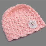 baby girl | crochet beanie | pink with white bunny | gift | newborn - 6 months