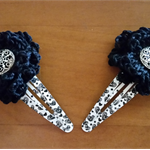 Hair accessories - 2 crochet flower snap hair clips - BLACK