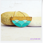 Ombre Teal Wave Scallop Laser Cut Bamboo Wood Pendant Necklace