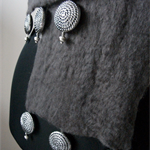 Dark Grey wet felted scarf 'Spiral'