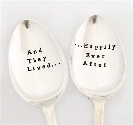 Happy Ever After. Hand Stamped Vintage Wedding or Engagement Silver Spoon Set.