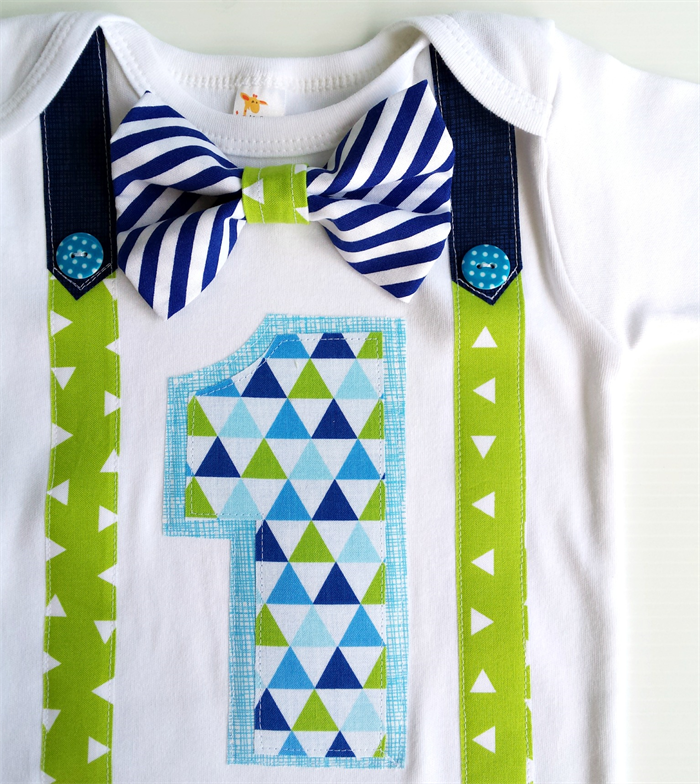 First Birthday Outfit Baby Boy Onesie Blues And Greens Bow Tie All Sizes