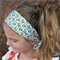 "Baby Turban Headband, green leaves, blue flower, ""Sarah"", baby knot headband"