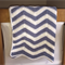 Hand Crochet Chevron Baby Blanket - Blue & White