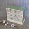Wooden jewellery trinket box // wood decoupage drawers bird flower