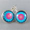 Cabochon Drop Earrings - Blue Flower