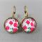 Cabochon Drop Earrings - Pink Roses
