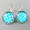 Cabochon Drop Earrings - Aqua Quatrefoil