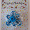 Blue/white flower ribbon with snail button centre hair clip