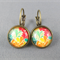 Cabochon Drop Earrings - Bright Foliage