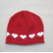toddler beanie red hearts - hand knitted - girl 1-3 years