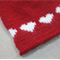 child beanie red hearts - hand knitted - girl 4-8 years