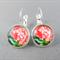 Cabochon Drop Earrings - Pink Hydrangea