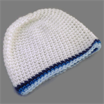 preemie | baby boy crochet beanie | white with blue stripes | gift | little