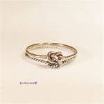Double knot ring, two tone ring, gold and twisted silver