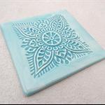 Ceramic coaster in turquoise. Engagement, wedding, housewarming gift.