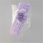 baby girl | crochet headband | mauve with white flower | gift | 3 - 12 months