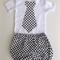 Black and White Spots Set - Shorties Bloomers with matching tie onesie
