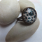 Black and Teal Glass Ring - Antique Bronze adjustable ring