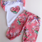 Stunning Rose Floral Harem Pants with Ruffled Sleeves Love heart Onesie