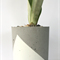 Concrete tall planter pot, Medium. white triangle design