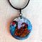 Black Swan - handpainted wooden pendant, black cord necklace, black, blue, white