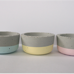 Set of three concrete mini planter/ candle pots, round, pastels