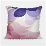 Pastel Blossom Print Pom Pom Cushion - cotton/linen blend, 50x50cm, 17x17inches