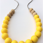 Washable Silicone & Natural Wood Necklace - Lemon