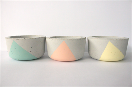 Set of three concrete mini planters/ candle pots, Pastels