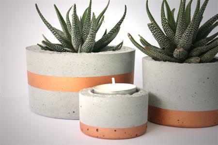 Concrete copper stripe planter trio set
