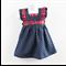 Girls Denim Pinafore Dress,  Size 00, Rabbits and Spots