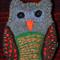 Grey/Brown/Green Embroidered Felt Owl Brooch