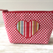 Fabric case with heart appliqué - Red with white polka dots