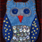 Light/Dark Blue Embroidered/Sequinned Felt Owl Brooch