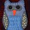 Blue/Grey Embroidered Felt Owl Brooch