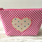 Fabric case with heart appliqué - Pink with white polka dots